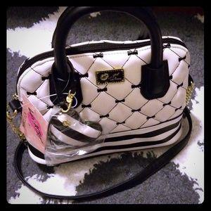 NWT Betsey Johnson Black White Quilted Handbag